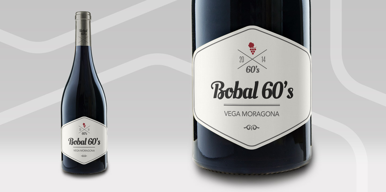 Diseño de etiquetas de vino Bobal 60s