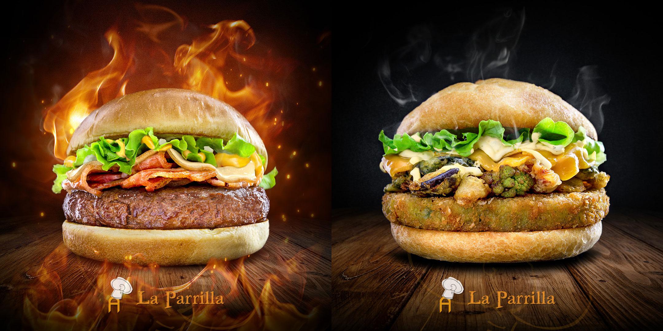 Fotografía de producto - hamburguesas la parrilla